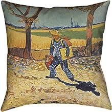 """ArtVerse Vincent Van Gogh Self Portrait x Pillow-Faux Linen (نسيج محدث) طباعة مزدوجة الجانب مع سحاب مخفي وإدراج 18"""" x 18"""" ..."""