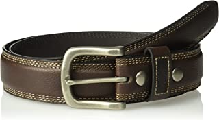 Dickies Men's Drop Edge Double Stitch Belt With Snap Detail , -brown, Large