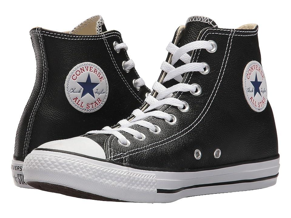 60s Shoes, Boots | 70s Shoes, Platforms, Boots Converse Chuck Taylorr All Starr Leather Hi Black Classic Shoes $64.95 AT vintagedancer.com