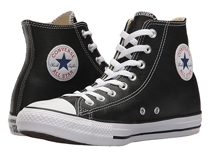Vintage Sneakers, Retro Designs for Women Converse Chuck Taylorr All Starr Leather Hi Black Classic Shoes $59.95 AT vintagedancer.com