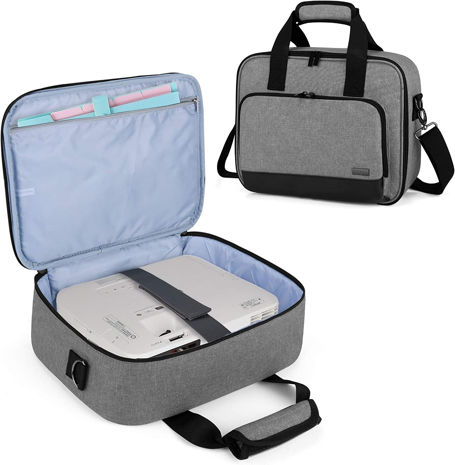 Luxja Projector Case, Projector Bag with Accessories Storage Pockets (Compatible with Most Major Projectors), Medium(13.75 x 10.5 x 4.5 Inches), Gray