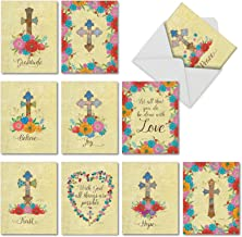 10 'Cross My Heart' Note Cards with Envelopes 4 x 5.12 inch, Blank Greeting Cards with Watercolor Crosses and Inspiring Words, Stationery for Weddings, Sympathy, Thank You M3882OCB-B1x10