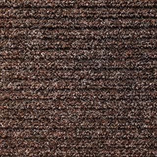 House, Home and More Heavy-Duty Ribbed Indoor Outdoor Carpet with Rubber Marine Backing - Tuscan Brown - 6 Feet X 20 Feet
