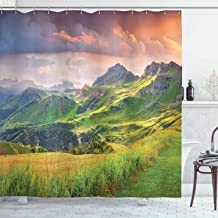 Lake House Decor Shower Curtain by Ambesonne, Summer Landscape of Italian Alps at Sunset Meadow Serenity in Nature, Fabric Bathroom Decor Set with Hooks, 75 Inches Long, Green White