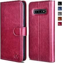 OCASE Samsung Galaxy S10 Plus / S10+ Case [ Card Slot ] [ Kickstand ] [TPU Shockproof Interior ] Leather Flip Wallet Case for Samsung Galaxy S10 Plus / S10+ Devices (Burgundy)