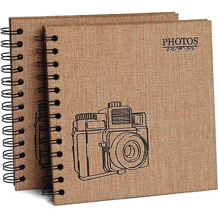 2 PCS Hotipine Vintage DIY Album Photo Scrapbooking Lin en Tissu 40 Noires Pages 20 Feuilles 408 Coin Photo Adhesif Cadeaux de Noël, Amis, Famille, Enfants - 17.6 X 17.6 cm