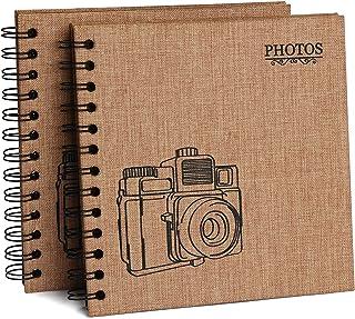 2 PCS Hotipine Vintage DIY Album Photo Scrapbooking Lin en Tissu 40 Noires Pages 20 Feuilles 408 Coin Photo Adhesif Cadeau...