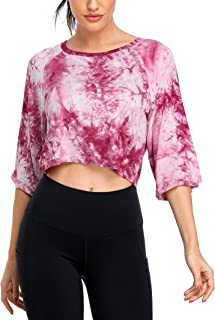 ATTRACO Tie Dye Workout Tops for Women 1/2 Raglan Sleeve Athletic Shirt Yoga Gym