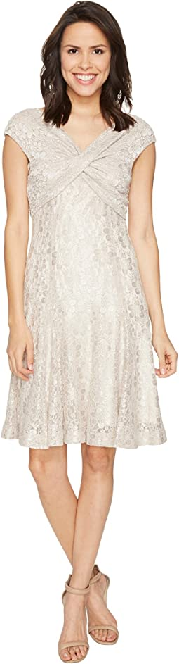 Wrap Bodice Stretch Lace Dress