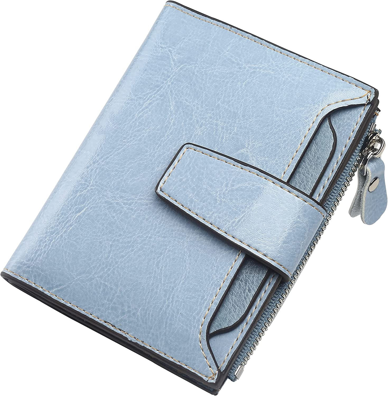 Womens Wallet, Lavemi Leather Wallet RFID Blocking Small Bifold Compact Credit Card Holder for Women with ID Window Zipper Pocket