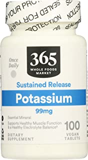 365 by Whole Foods Market, Supplements - Minerals, Potassium - Sustained Release 99mg, 100 Count
