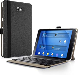 Infiland Samsung Galaxy Tab A 10.1 Keyboard Case, Premium Shell Stand Case Cover with Detachable Bluetooth Keyboard for Galaxy Tab A 10.1 Inch Tablet (SM-T585/SM-T580), Black