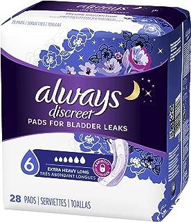 Always Discreet for Bladder Leaks, Ultimate Overnight, Long Length, 28 Pads