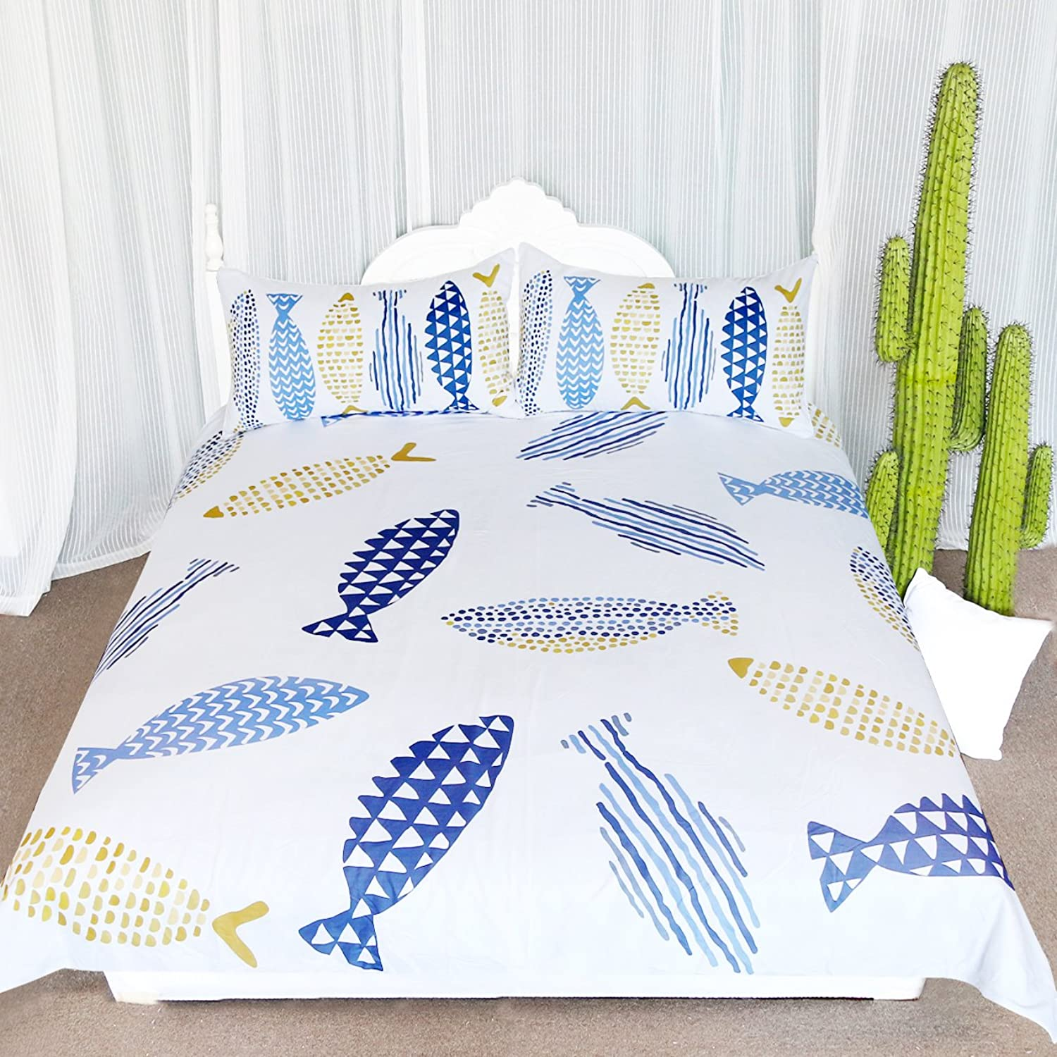 ARIGHTEX Fishy Bedding Geometric Drawing of Fish Duvet Cover Quilt Cover Set White Bedding Sets for Teens Girls Little Boys (Queen)