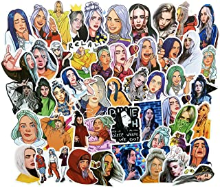 COOLCOOLDE Singer Billie Eilish Stickers 50PCS for Laptop and Water Bottles,Waterproof Durable Trendy Vinyl Laptop Decal Stickers Pack for Teens, Water Bottles, Computer, Travel Case (Billie Eilish)