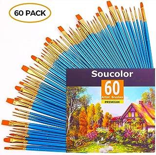Acrylic Paint Brush Set, 6 packs/60pcs Nylon Hair Brushes for All Purpose Oil Watercolor Painting Artist Professional Kits