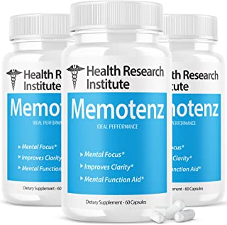 (3 Pack) Memotenz Brain Function Memory Supplement Nootropic Pills Powerful New Formula Brainxcomplex (180 Capsules)