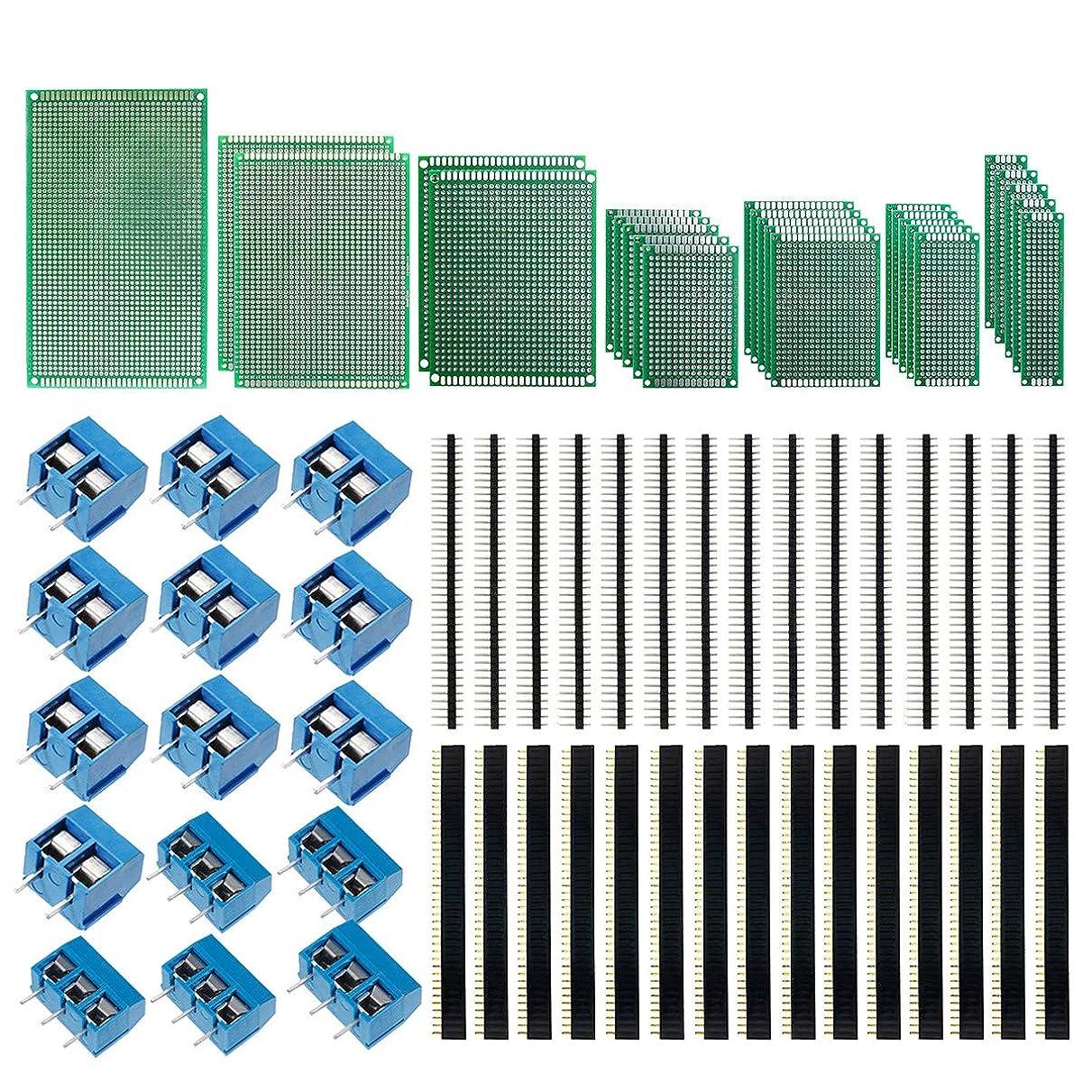 期間三番絶えずKeeYees ユニバーサル基板 PCB回路基板 両面 ターミナルブロックコネクタ 2ピン/ 3ピン ストレートピンヘッダー ピンソケット 40ピン PCBキット