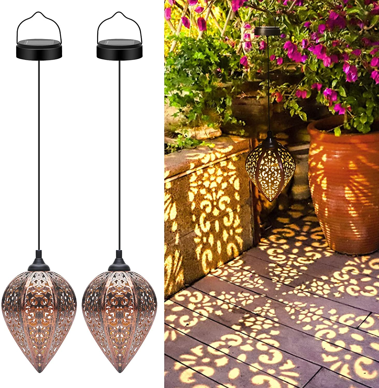 Ulmisfee Hanging Solar Lantern, 2 Pack Solar Garden Lights, Outdoor Waterproof LED Decorative Metal Lamp for Porch Patio Yard Pathway Tree Christmas
