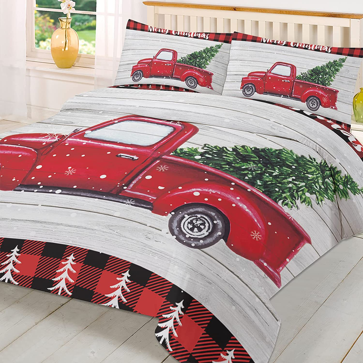 Queen Duvet Cover New sales Discount is also underway Set Merry Christmas Tree Xmas Truck o with Red