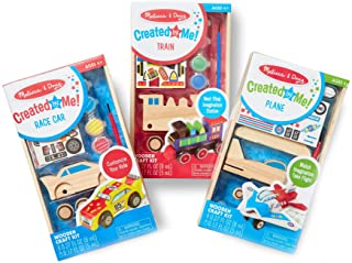 Melissa & Doug Decorate-Your-Own Wooden Craft Kits Set - Plane, Train, and Race Car