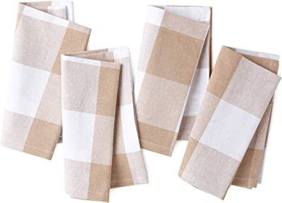 Encasa Homes Dining Table Napkins 12 pcs Set of Large 17 x 17 inch - Buffalo Beige Checks - Heavy Eco-Friendly Cotton, Homespun Fabric, Machine Washable for Dinner, Party, Restaurant & Banquet