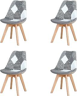Lot de 4 chaises de salle à manger ergonomiques simples en coton et lin Patchwork bois massif pour cuisine, salon, bureau ...