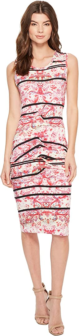 Nicole Miller Stamped Paisleys Mia Sleeveless Tidal Pleat Dress