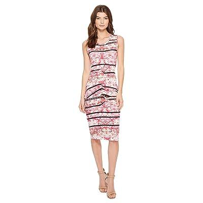Nicole Miller Stamped Paisleys Mia Sleeveless Tidal Pleat Dress (Pink Multi) Women