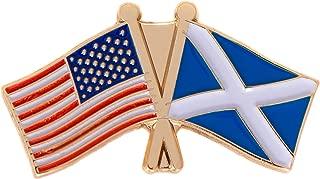 Scotland Country Double Flag Lapel Pin Enamel with United States USA US Souvenir Hat Men Women Patriotic (Double Flag Pin)