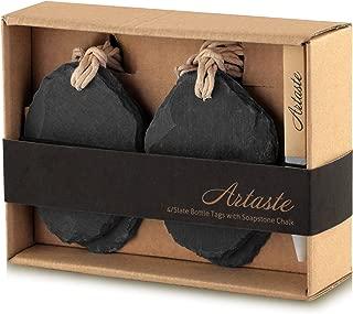 Artaste 28607 Slate Wine Tag and Soapstone Chalk (Set of 4), 3.5 by 2.5
