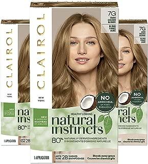 Clairol Natural Instincts Semi-Permanent, 7G Dark Golden Blonde, Golden Honey, 3 Count