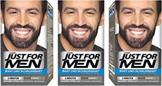 Just For Men - Tinte de barba y bigote para hombre color negro natural (M55) 3 paquete