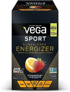 New Vega Sport Sugar Free Energizer Strawberry Lemonade (30 Count, 0.12oz) - Vegan,  Keto-Friendly, Gluten Free,  Sugar Free, All Natural, Pre Workout Powder, Non GMO