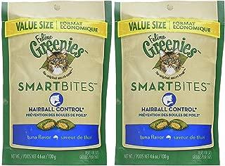 Feline Greenies 2 Pack of Smartbites Hairball Control Cat Treats, Tuna, 4.6 Ounces Per Pack