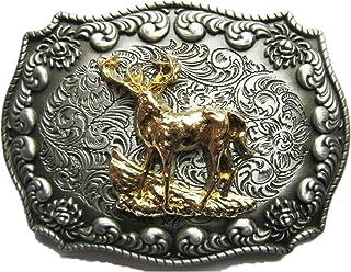 New Western Cowboy Rodeo Deer Double Color Belt Buckle also Stock in CA