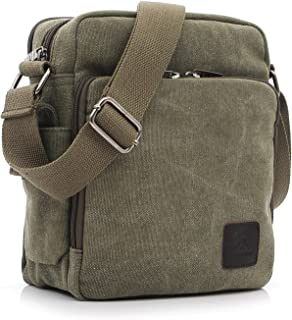 Outreo Bolso Bandolera Hombre Pequeñas Bolsos de Tela Vintage Messenger Bag para Colegio Bolsa de Lona Universidad Libro B...