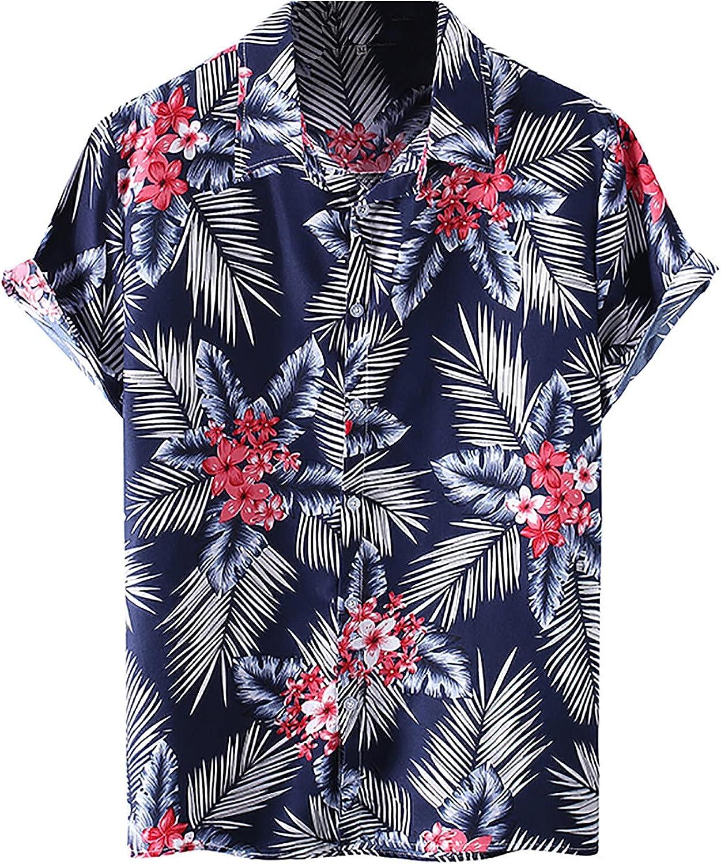 Mens Casual Button Down Hawaiian Shirts Short Sleeve Beach Shirt Loose Summer Aloha Printed Shirts