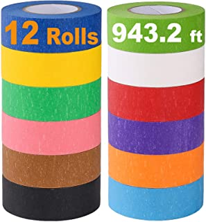 Colored Masking Tape, Rainbow Colors Painters Tape Colorful Craft Art Paper Tape for Kids Labeling Arts Crafts DIY Decorat...