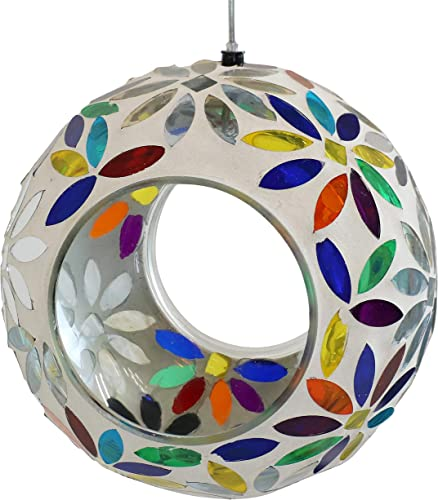 high quality Sunnydaze Outdoor Hanging Fly-Through Bird Feeder with Rainbow Daisies Mosaic sale Glass lowest Design, 6-Inch outlet online sale