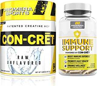 Promera Sports, CON-CRET Patented Unflavored Creatine HCl Powder and Promera Health Immune Support Bundle