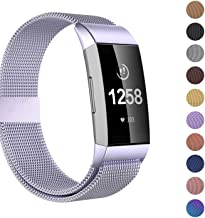 Fitlink Stainless Steel Metal Replacement Bands for Fitbit Charge 3 and Charge 3 SE for Women Men,Multi Color Multi Size