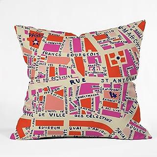Deny Designs Holli Zollinger Paris Map Pink Throw Pillow, 16 x 16
