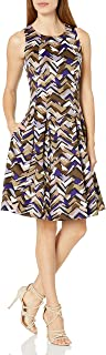 NINE WEST Women's Painted Chevron Scuba Fit &Flare Dress