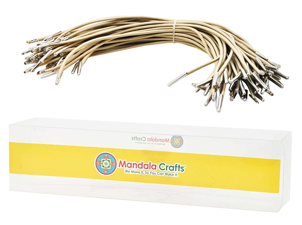 Mandala Crafts Menu Mask Badge Sign Hanging Elastic Barbed Cord Loop Band with Metal Barbs (6.5 Inches 50 Loops, Cream)