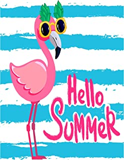 ALAZA Cartoon Hello Summer Flamingo Bird Garden Yard Flag, Blue Stripe Pink Animal Double Sided Welcome House Flag Banner 12 x 18 inch for Outdoor Lawn Party Decor