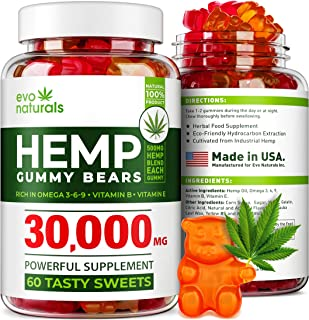 Evo Naturals Hemp Gummies – 30,000 MG Blend – 500 MG Hеmp in Each Gummy – Relaxing Hеmp Oil Gummies – Stress & Anxiety Relief – Effective Mood Support – with Omega 3, 6, 9 & Vitamin E, B – Made in USA