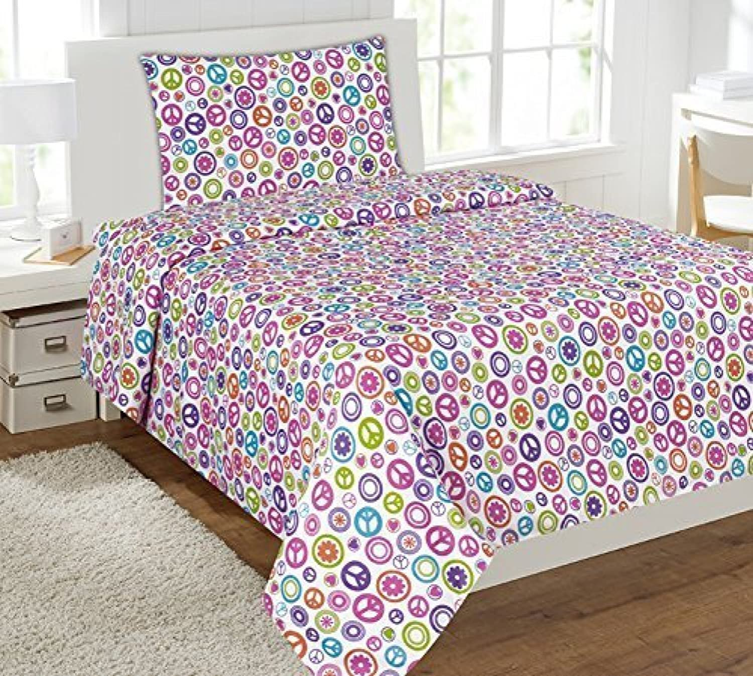 Linen Plus Full Size 4pc Sheet Set for Girls Peace Signs White Pink Purple orange Green Turquoise New