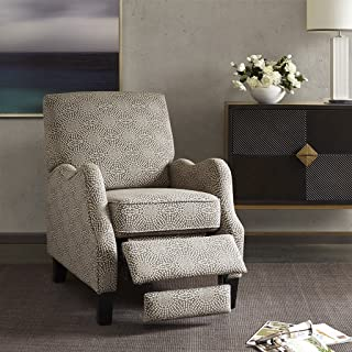 Madison Park Hoffman Recliner Chair - Solid Wood, Plywood, Fully Upholstered, Bedside Lounger, Modern Classic Style, Family Room Sofa Furniture, Beige Medallion