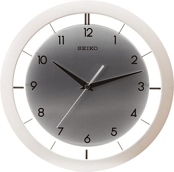 Seiko 11 Brushed Metal Wall Clock